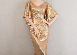 Sexy Golden Bat Sleeve Maxi Long Sequin Dresses Fitted Sequined Cocktail Dress image 7