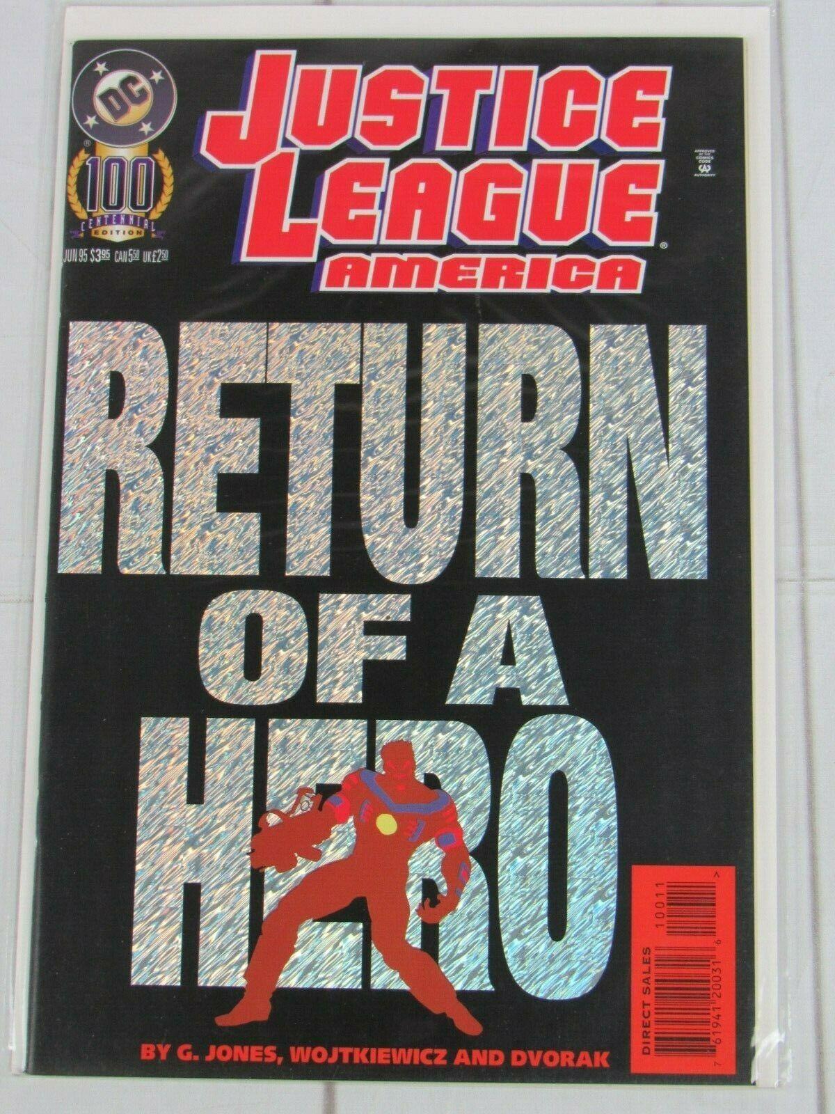 JUSTICE LEAGUE OF AMERICA #100 VOL 2 JLA DC HOLO COVER JUNE 1995 - C4979