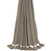 Knitted Ribbed Taupe Tasselled Throw Blanket 140CM X 180CM - $70.67