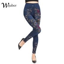 Weljuber Women Mock Pocket Leggings  Autumn Print Flowers Jeans Slim Leg... - $44.90