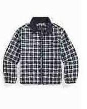 Ralph Lauren GREEN/WHITE Multi Boys Plaid Cotton Oxford Jacket, Us 2T - $47.03