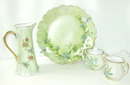 Vtg Pitcher '88, Cream '85, Sugar '85, Plate '87 HandPainted Signed Mary... - $59.99