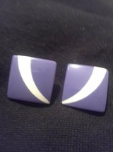 STUNNING VINTAGE ESTATE  PURPLE LUCITE CLIP ON EARRINGS - $3.00