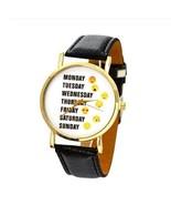 Cute Emoji Girl Black Leather Watches Monday Weekday Sport Women Wristwatch - $3.99