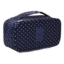 Portable Large Capacity Travel Cosmetic Bag Dark Blue Dots Wash Bag