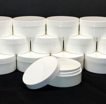 36 White Plastic Cosmetic Containers Low Profile Wide Mouth Jars w/Lid 2... - $112.95