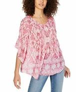 Style & Co. Womens Retro Scarf-Print Pintuck-Pleat Top Southwest Pinks Plus 1X - $32.13