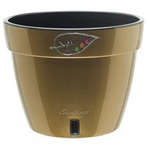 Santino Self Watering Planter Asti 7.1 Inch Gold/Black Flower Pot - €9,82 EUR