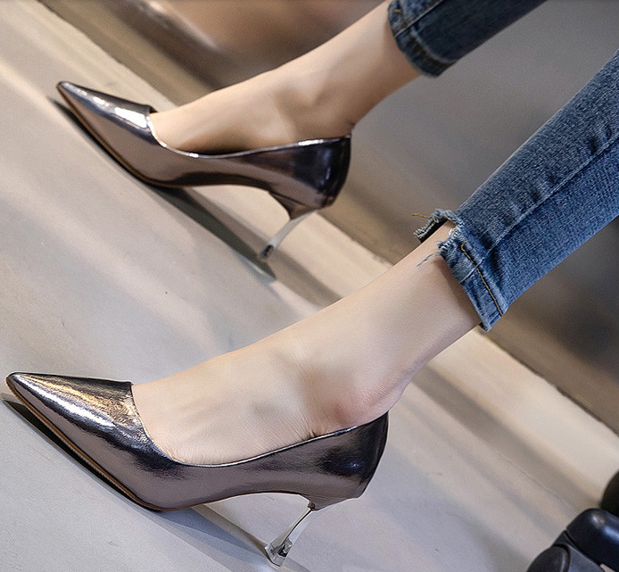 Primary image for Elegant Pointy pump, 7 cm heels, US size 4-8.5, gun