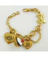 JUICY COUTURE Charm BRACELET Heart Bow Eat Candy with Cupcake Charm - 7 ... - $55.00