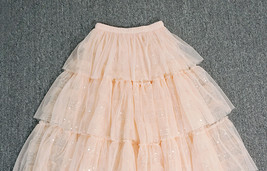 Blush Layered Tulle Skirt Outfit Midi Tiered Tulle Skirt Plus Size Holiday Skirt image 7