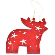 Undugu Society Hand Carved Soapstone Red Reindeer Christmas Holiday Ornament image 2