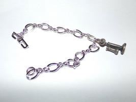 "Vtg 7"" Sterling Silver Charm Bracelet & Stick Lgb Candlestick Phone Telephone - $20.30"