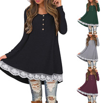 2018 New Womens Long Sleeve Blouse Lace Hem Tunic Loose Tops Jumper A Dr... - $14.80
