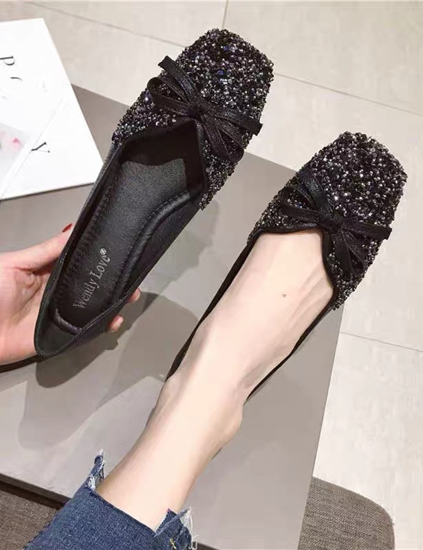Primary image for Women Sequin Black Wedding Shoes,Sequin Bridal Shoes,Black Ballet flats shoe