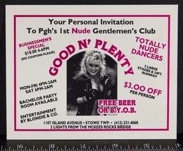 Vintage Buono N' Tantissima Adulti Gentlemens Club Pubblicità Scheda 604... - $30.18