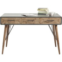 Writing Desk With Drawers Scandinavian Style Finished Grey Brown Wood - $469.13