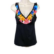 Kim Rogers Ruffle Tankini Swim Top Swimwear Women Size S Black Floral Pa... - $6.18