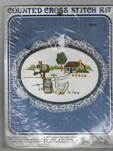 VTG New Berlin Counted Cross Stitch Kit Lace Trimmed Hoop Frame House Co... - $22.98