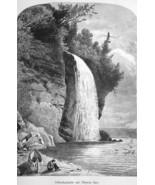 LAKE SUPERIOR Silver Cascade Waterfall - 1883 German Print - $14.40