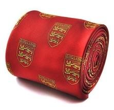 Frederick Thomas Rosso cravatta con tre leoni Stemma Design Uomo