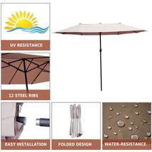 15' Double-Sided Patio Umbrella Twin Sun Canopy Market Shade Outdoor Gar... - $164.40