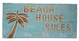 BEACH HOUSE RULES RELAX NAUTICAL RUSTIC TROPICAL ISLAND TIKI HANDMADE WO... - $24.69