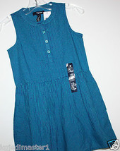 Gap Kids NWT Girl's S 6 7 Teal & Navy Blue Gingham Plaid Check Sleeveless Dress - $30.39