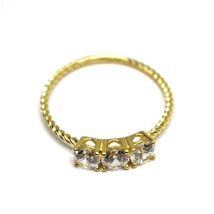 SOLID 18K YELLOW GOLD RING, TRILOGY CUBIC ZIRCONIA 1.2ct WIRE ROUND BRAID TUBE image 2