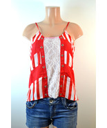 Marineblu Lace And Stripes Tank Red - $21.99