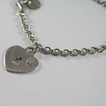 925 SILVER, AQUAFORTE BRACELET, HEART CHARMS, RHODIUM SILVER, FACETED ZIRCONIA. image 2
