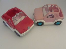 Lot of 2 Rare Red and Pink 2001 Convertible Jeep w/dual seats & moving d... - $16.99