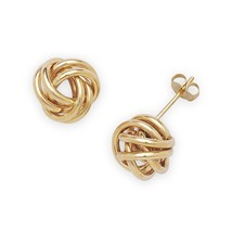 14k Yellow Gold Wire Love Knot Stud Earrings - $108.79