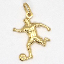 18K YELLOW GOLD PENDANT CHARM SOCCER PLAYER, MADE IN ITALY, STRIKER image 1