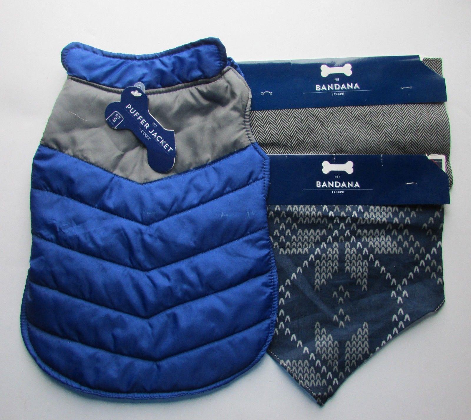 Pet Jacket, 2X Bandana Blue Multi-Color  Dog ,Cat NWT Sz S
