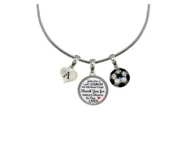 Custom Soccer Coach Thank You Gift Silver Necklace Jewelry Choose Initia... - $14.87