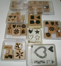 59 Pcs Stampin Up 9 Sets Lot Wood Rubber Stamp New and Used with cases - $42.56