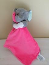 Carters Hot Pink Elephant Security Blanket Lovey Stripe Satin Rattle - $28.70