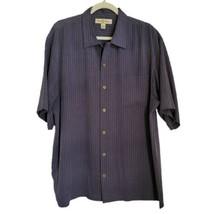 Tommy Bahama Silk Button Up Shirt L Large Black Check Pocket Short Sleeve  - $25.98