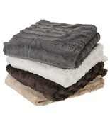 Cheer Collection Faux Fur to Microplush Reversible Throw Blanket - £28.81 GBP