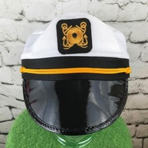 Captains Hat Mens Womens Unisex One Sz Snapback White Black Costume Cosp... - €14,57 EUR