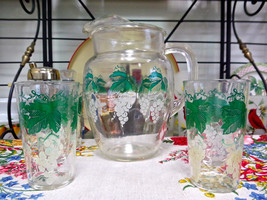 Vintage Green And White Grapevine Pitcher And Tumblers With Ribbed Handle - $14.80