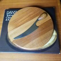 DANSK Vintage Teak Wood Cheese Board & Knife Torun Denmark w/ Box - £29.65 GBP