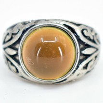 Vintage Inspired Silver & Black Painted Color Changing Round Cabochon Mood Ring