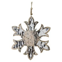 "Northlight 6.5"" Nature's Luxury Wooden Mirrored Snowflake Christmas Orna... - $11.62"