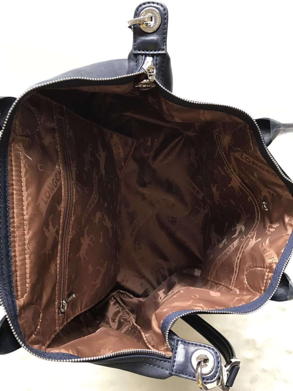 Longchamp Le Pliage Cuir Top Handle Hand Bag Medium Size Navy Blue Auth
