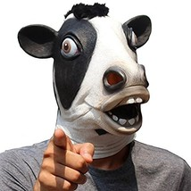 CreepyParty Novelty Halloween Costume Party Latex Cow Head Mask (Cow) Black - £19.10 GBP