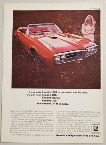 Primary image for 1967 Print Ad Pontiac Firebird HO Red Convertible & Pretty Lady Smiling