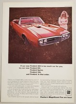 1967 Print Ad Pontiac Firebird HO Red Convertible & Pretty Lady Smiling - $14.83