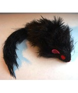 LARGE 20CM BLACK FAUX FUR REALISTIC RATTLE MOUSE CAT TOY - $3.72